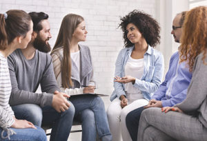 group therapy meeting for sober living program at NFA Behavioral Health